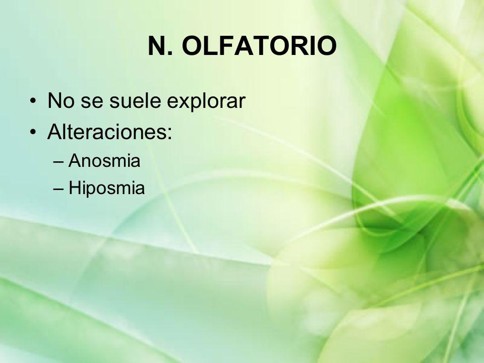 N. OLFATORIO No se suele explorar Alteraciones: –Anosmia –Hiposmia