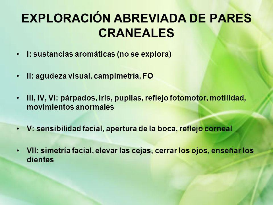 EXPLORACIÓN ABREVIADA DE PARES CRANEALES I: sustancias aromáticas (no se explora) II: agudeza visual, campimetría, FO III, IV, VI: párpados, iris, pup