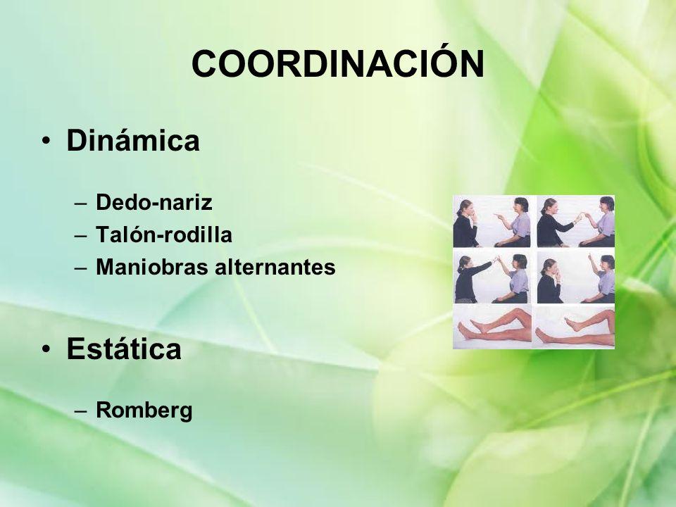 COORDINACIÓN Dinámica –Dedo-nariz –Talón-rodilla –Maniobras alternantes Estática –Romberg