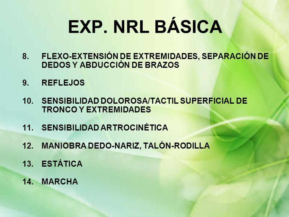 8.FLEXO-EXTENSIÓN DE EXTREMIDADES, SEPARACIÓN DE DEDOS Y ABDUCCIÓN DE BRAZOS 9.REFLEJOS 10.SENSIBILIDAD DOLOROSA/TACTIL SUPERFICIAL DE TRONCO Y EXTREM