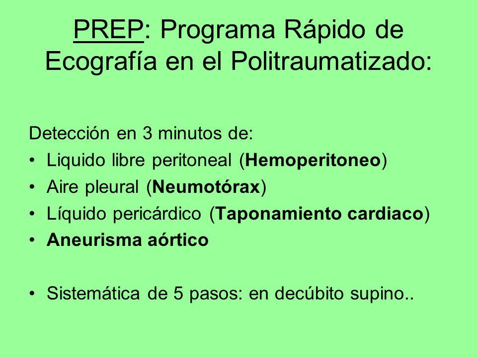 PREP: Programa Rápido de Ecografía en el Politraumatizado: Detección en 3 minutos de: Liquido libre peritoneal (Hemoperitoneo) Aire pleural (Neumotóra
