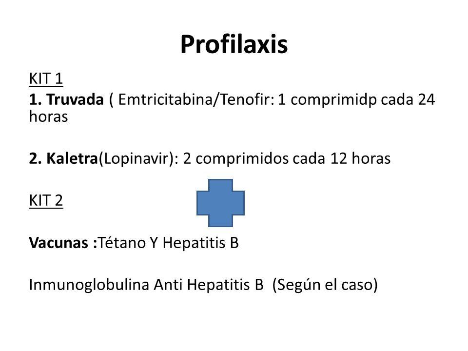 Profilaxis KIT 1 1. Truvada ( Emtricitabina/Tenofir: 1 comprimidp cada 24 horas 2. Kaletra(Lopinavir): 2 comprimidos cada 12 horas KIT 2 Vacunas :Téta