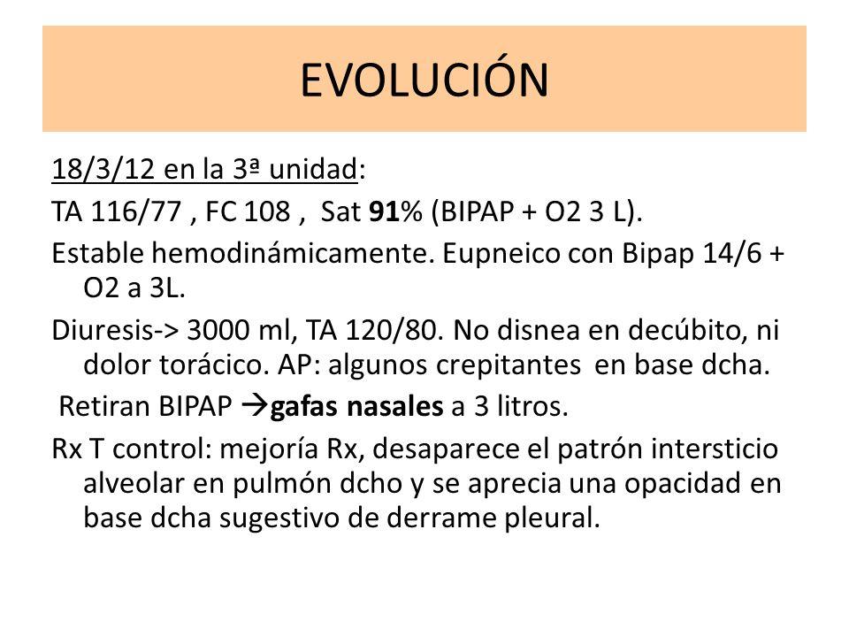 EVOLUCIÓN 18/3/12 en la 3ª unidad: TA 116/77, FC 108, Sat 91% (BIPAP + O2 3 L). Estable hemodinámicamente. Eupneico con Bipap 14/6 + O2 a 3L. Diuresis