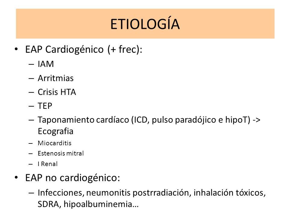 ETIOLOGÍA EAP Cardiogénico (+ frec): – IAM – Arritmias – Crisis HTA – TEP – Taponamiento cardíaco (ICD, pulso paradójico e hipoT) -> Ecografia – Mioca