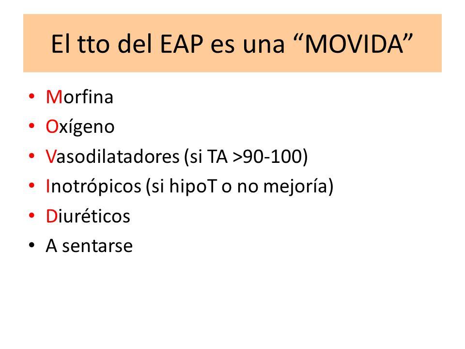 El tto del EAP es una MOVIDA Morfina Oxígeno Vasodilatadores (si TA >90-100) Inotrópicos (si hipoT o no mejoría) Diuréticos A sentarse