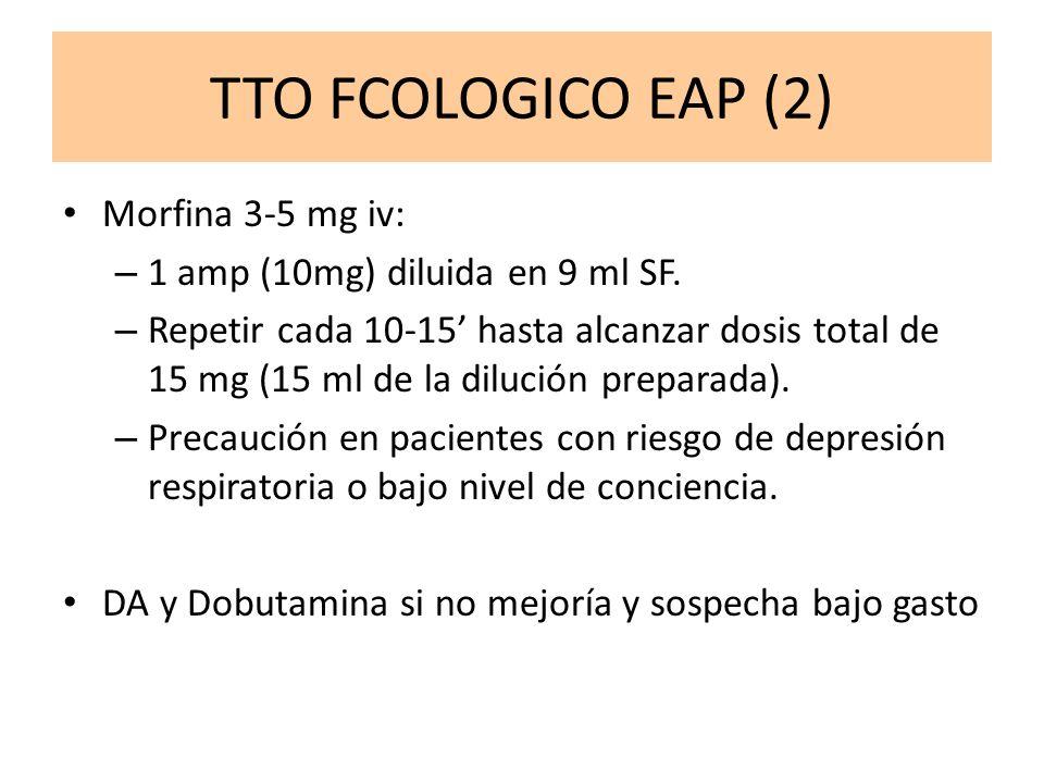 TTO FCOLOGICO EAP (2) Morfina 3-5 mg iv: – 1 amp (10mg) diluida en 9 ml SF. – Repetir cada 10-15 hasta alcanzar dosis total de 15 mg (15 ml de la dilu