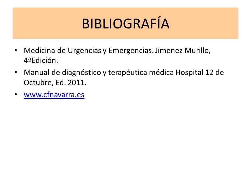 BIBLIOGRAFÍA Medicina de Urgencias y Emergencias. Jimenez Murillo, 4ªEdición. Manual de diagnóstico y terapéutica médica Hospital 12 de Octubre, Ed. 2