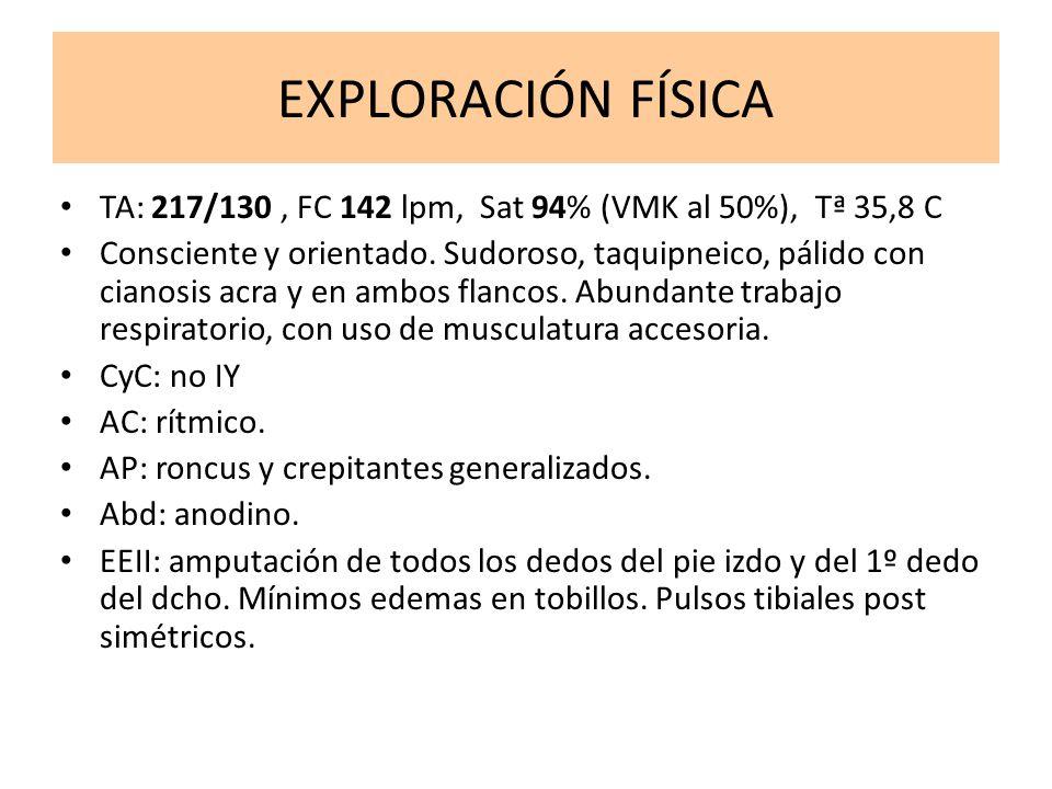 EXPLORACIÓN FÍSICA TA: 217/130, FC 142 lpm, Sat 94% (VMK al 50%), Tª 35,8 C Consciente y orientado. Sudoroso, taquipneico, pálido con cianosis acra y