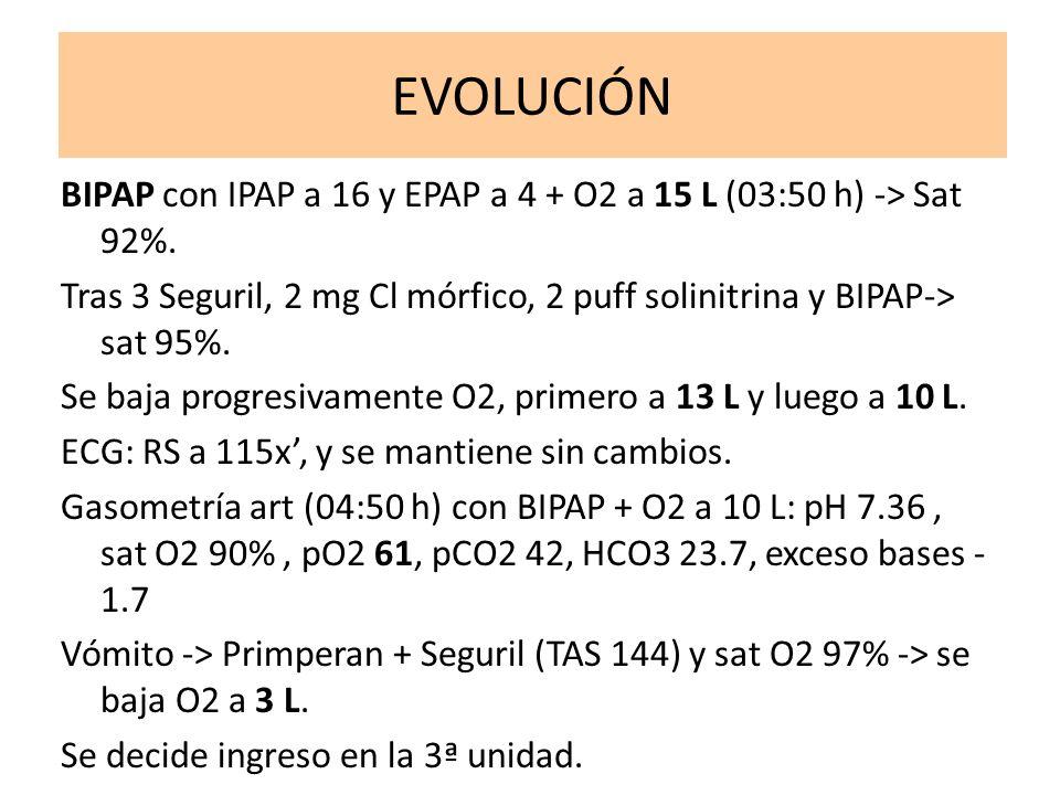 EVOLUCIÓN BIPAP con IPAP a 16 y EPAP a 4 + O2 a 15 L (03:50 h) -> Sat 92%. Tras 3 Seguril, 2 mg Cl mórfico, 2 puff solinitrina y BIPAP-> sat 95%. Se b