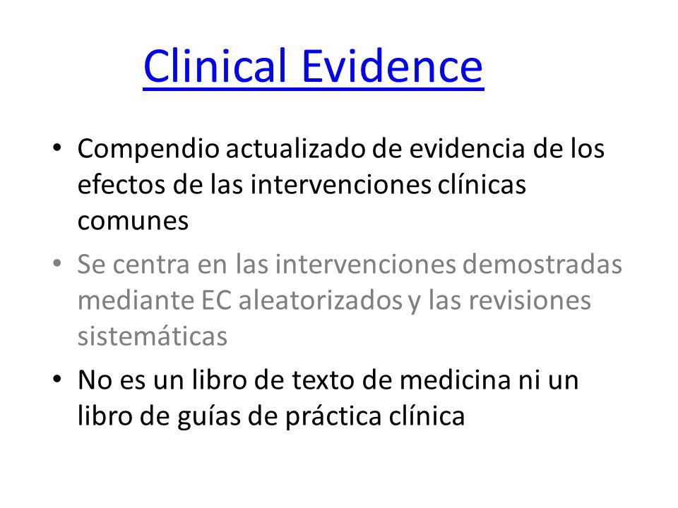 Clinical Evidence Compendio actualizado de evidencia de los efectos de las intervenciones clínicas comunes Se centra en las intervenciones demostradas