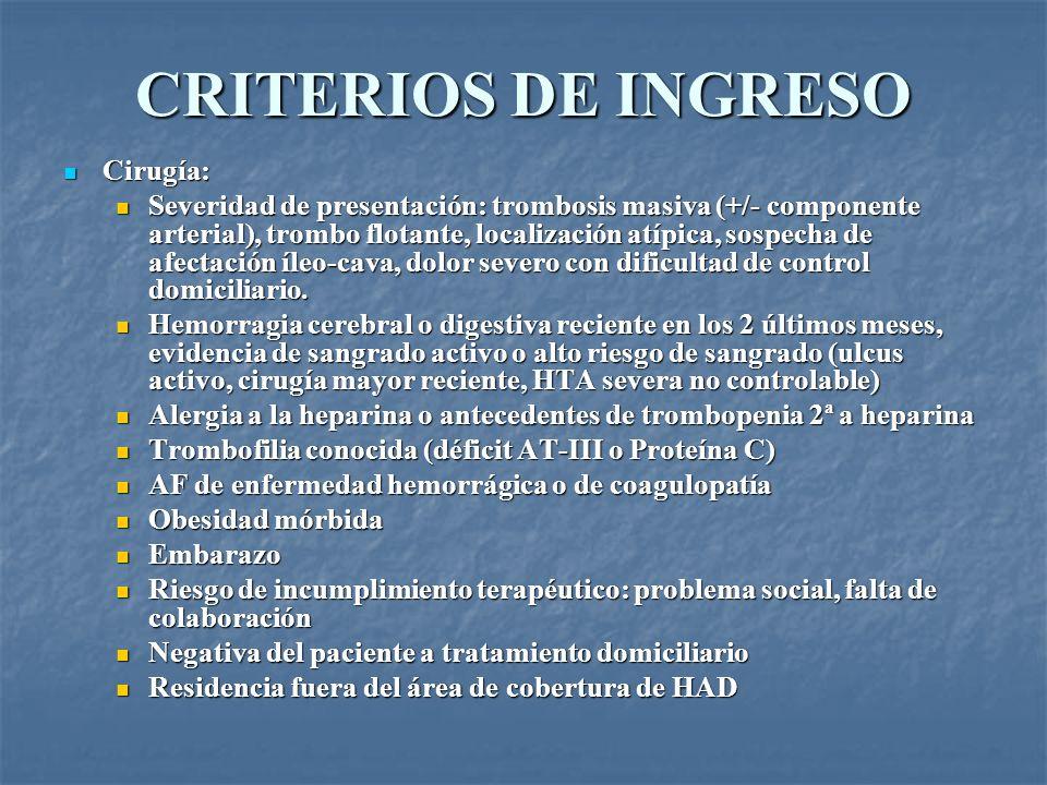 CRITERIOS DE INGRESO Cirugía: Cirugía: Severidad de presentación: trombosis masiva (+/- componente arterial), trombo flotante, localización atípica, s