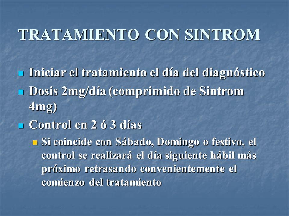 TRATAMIENTO CON SINTROM Iniciar el tratamiento el día del diagnóstico Iniciar el tratamiento el día del diagnóstico Dosis 2mg/día (comprimido de Sintr