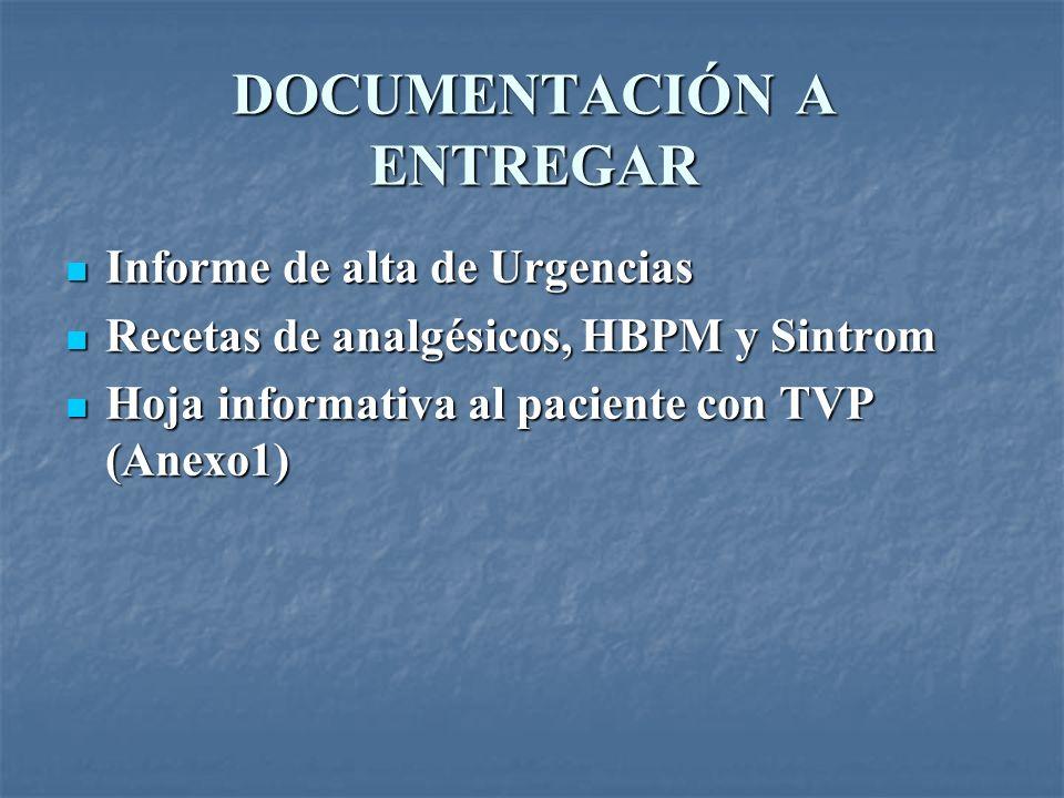 DOCUMENTACIÓN A ENTREGAR Informe de alta de Urgencias Informe de alta de Urgencias Recetas de analgésicos, HBPM y Sintrom Recetas de analgésicos, HBPM