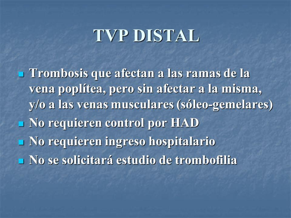 TVP DISTAL Trombosis que afectan a las ramas de la vena poplítea, pero sin afectar a la misma, y/o a las venas musculares (sóleo-gemelares) Trombosis