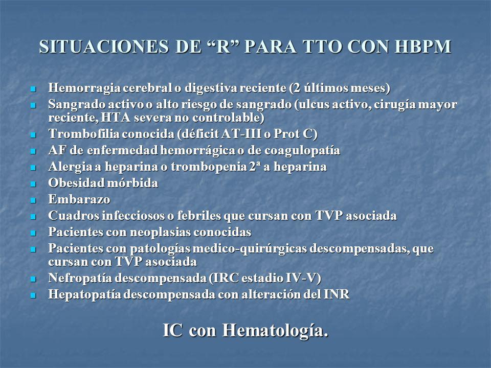 SITUACIONES DE R PARA TTO CON HBPM Hemorragia cerebral o digestiva reciente (2 últimos meses) Hemorragia cerebral o digestiva reciente (2 últimos mese