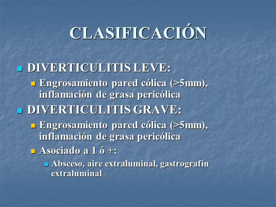 CLASIFICACIÓN DIVERTICULITIS LEVE: DIVERTICULITIS LEVE: Engrosamiento pared cólica (>5mm), inflamación de grasa pericólica Engrosamiento pared cólica