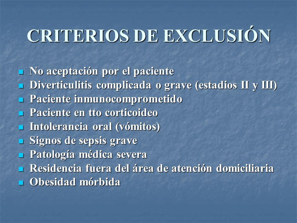 CRITERIOS DE EXCLUSIÓN No aceptación por el paciente No aceptación por el paciente Diverticulitis complicada o grave (estadios II y III) Diverticuliti