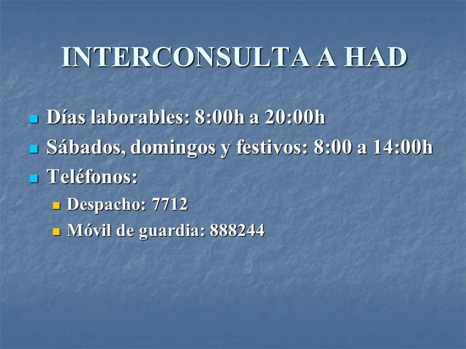 INTERCONSULTA A HAD Días laborables: 8:00h a 20:00h Días laborables: 8:00h a 20:00h Sábados, domingos y festivos: 8:00 a 14:00h Sábados, domingos y fe