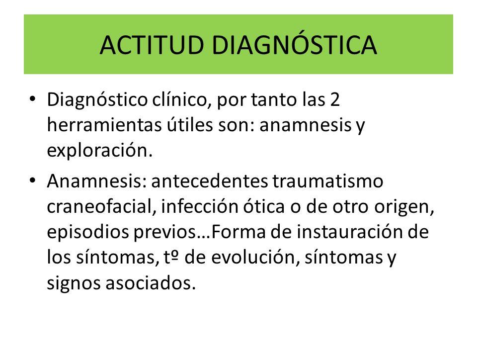 ACTITUD DIAGNÓSTICA Diagnóstico clínico, por tanto las 2 herramientas útiles son: anamnesis y exploración. Anamnesis: antecedentes traumatismo craneof