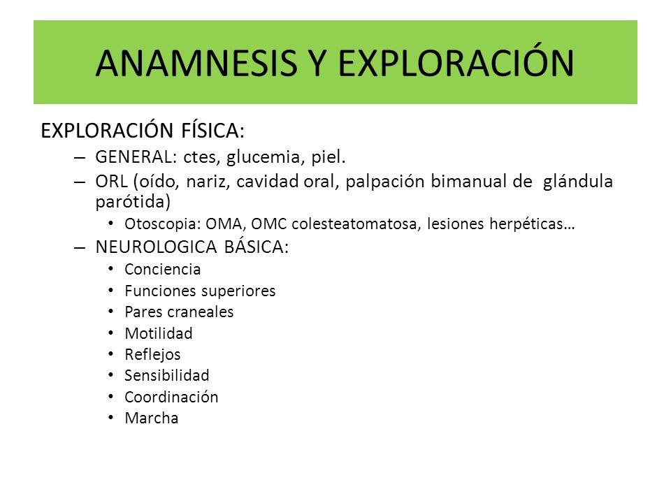 ANAMNESIS Y EXPLORACIÓN EXPLORACIÓN FÍSICA: – GENERAL: ctes, glucemia, piel. – ORL (oído, nariz, cavidad oral, palpación bimanual de glándula parótida