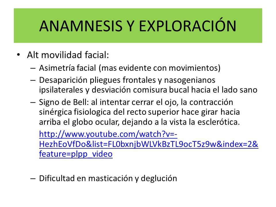 ANAMNESIS Y EXPLORACIÓN Alt movilidad facial: – Asimetría facial (mas evidente con movimientos) – Desaparición pliegues frontales y nasogenianos ipsil