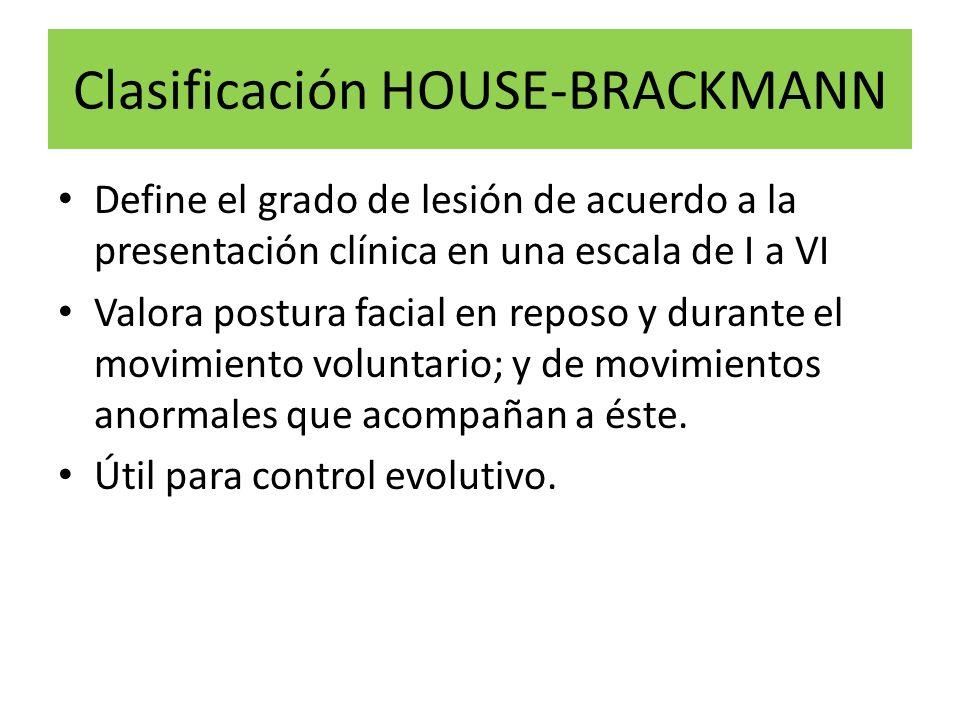 Clasificación HOUSE-BRACKMANN Define el grado de lesión de acuerdo a la presentación clínica en una escala de I a VI Valora postura facial en reposo y