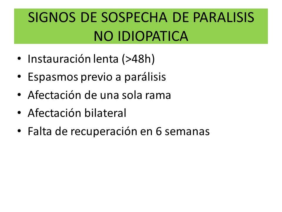 SIGNOS DE SOSPECHA DE PARALISIS NO IDIOPATICA Instauración lenta (>48h) Espasmos previo a parálisis Afectación de una sola rama Afectación bilateral F
