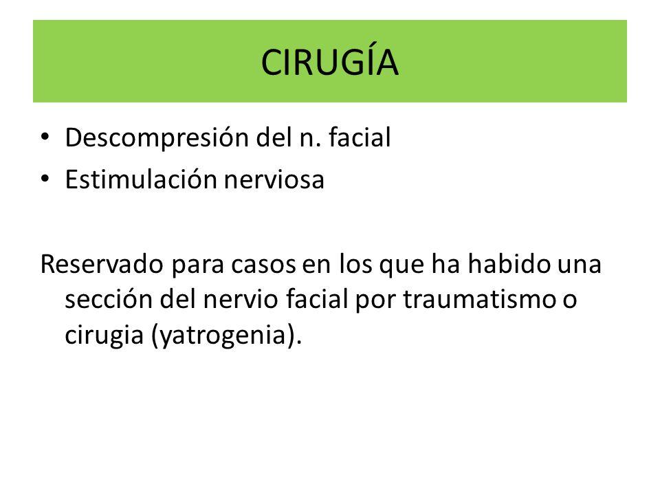CIRUGÍA Descompresión del n. facial Estimulación nerviosa Reservado para casos en los que ha habido una sección del nervio facial por traumatismo o ci
