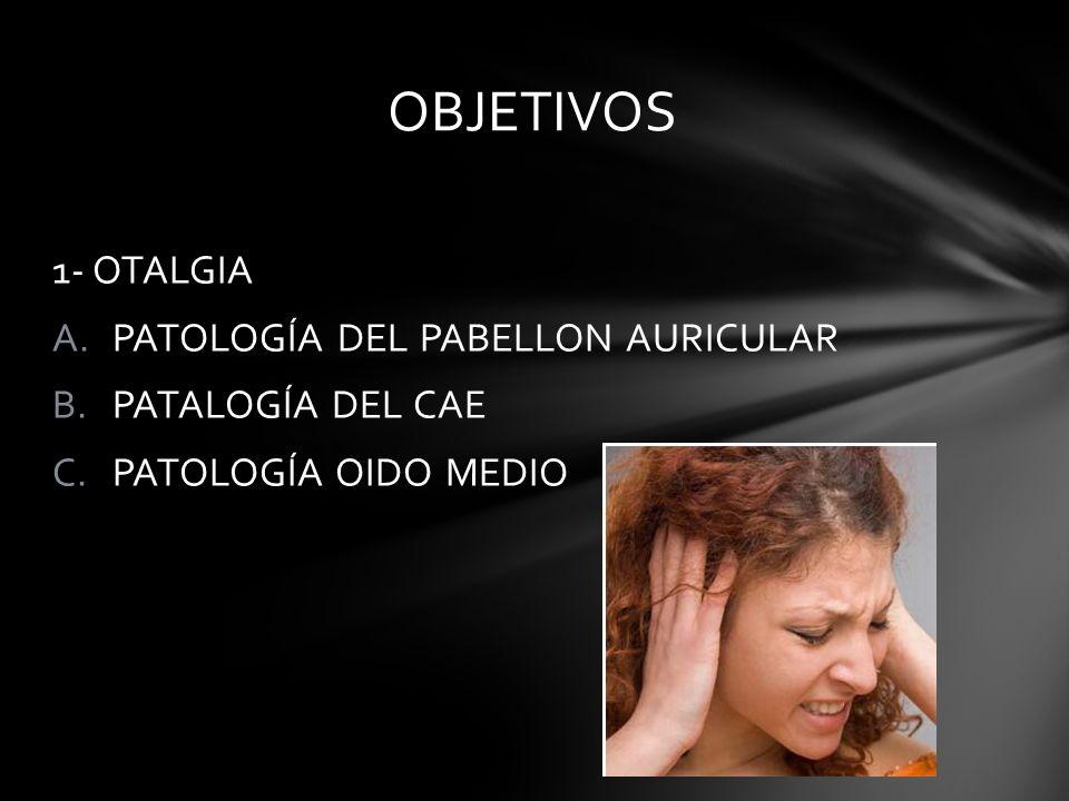 1- OTALGIA A.PATOLOGÍA DEL PABELLON AURICULAR B.PATALOGÍA DEL CAE C.PATOLOGÍA OIDO MEDIO OBJETIVOS