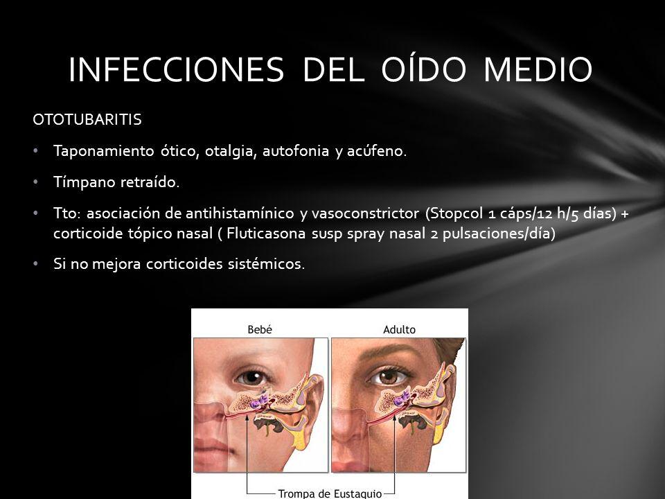 OTOTUBARITIS Taponamiento ótico, otalgia, autofonia y acúfeno. Tímpano retraído. Tto: asociación de antihistamínico y vasoconstrictor (Stopcol 1 cáps/