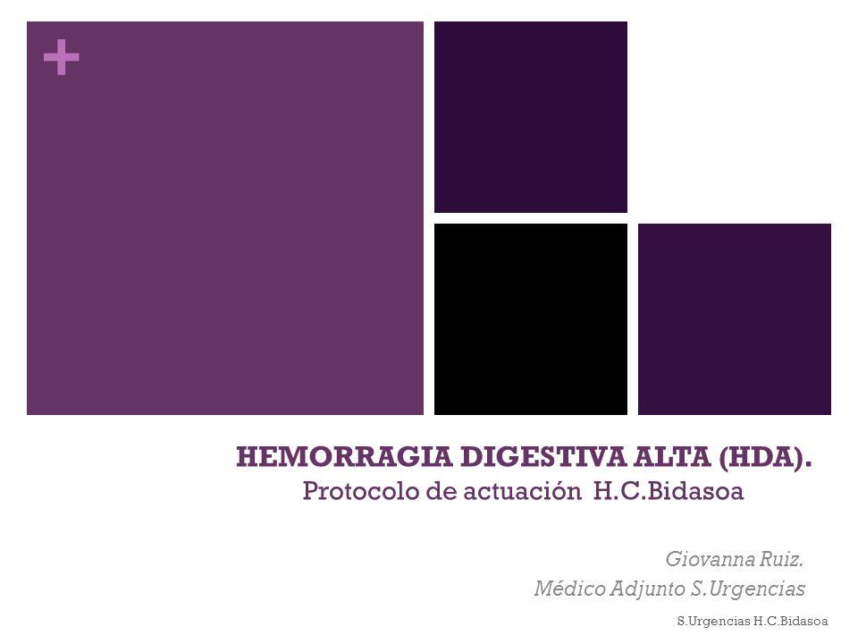 + HEMORRAGIA DIGESTIVA ALTA (HDA). Protocolo de actuación H.C.Bidasoa Giovanna Ruiz. Médico Adjunto S.Urgencias S.Urgencias H.C.Bidasoa