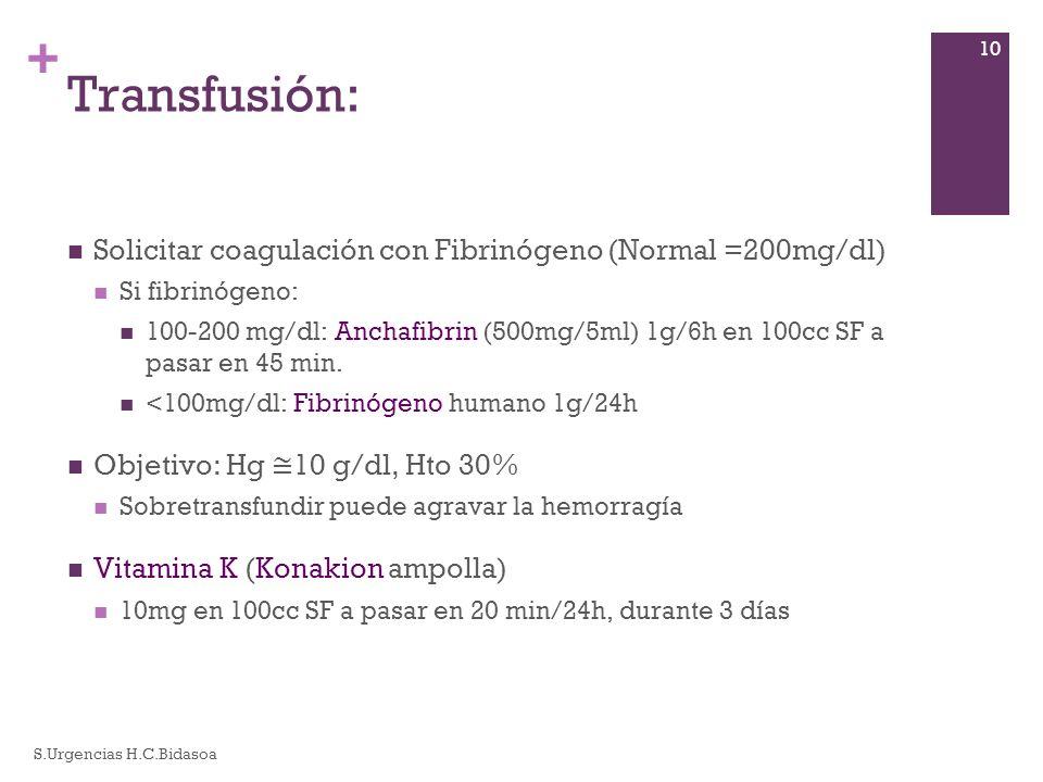 + Transfusión: Solicitar coagulación con Fibrinógeno (Normal =200mg/dl) Si fibrinógeno: 100-200 mg/dl: Anchafibrin (500mg/5ml) 1g/6h en 100cc SF a pas