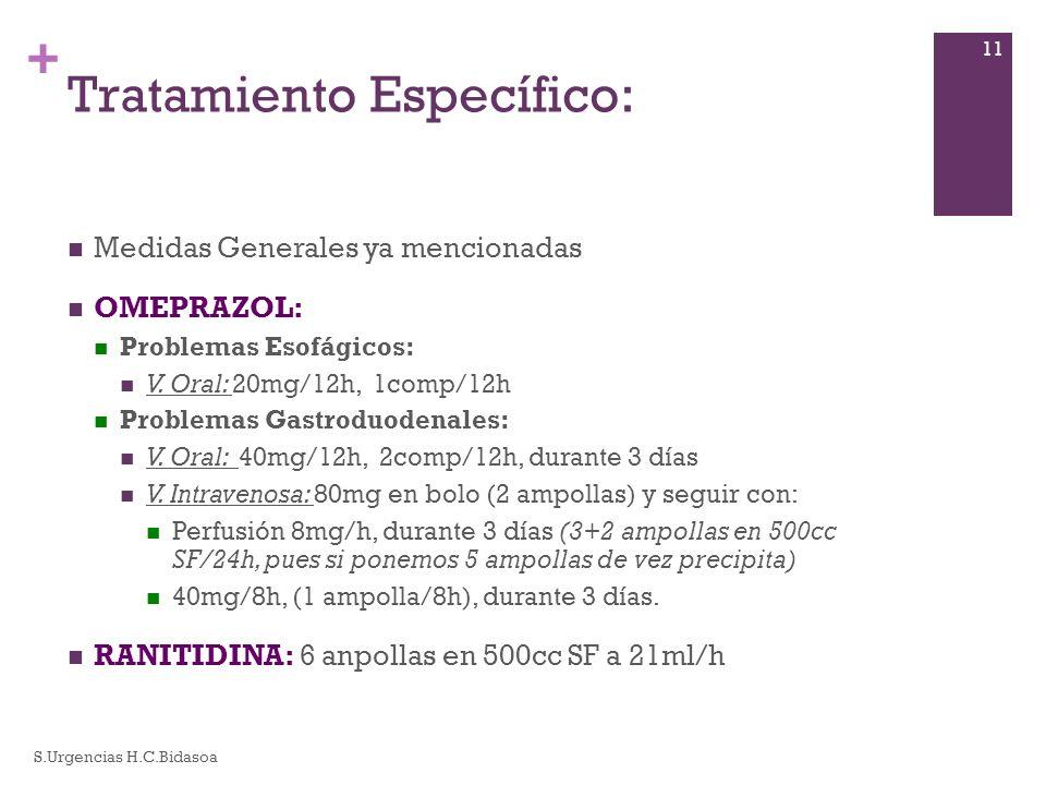 + Tratamiento Específico: Medidas Generales ya mencionadas OMEPRAZOL: Problemas Esofágicos: V. Oral: 20mg/12h, 1comp/12h Problemas Gastroduodenales: V