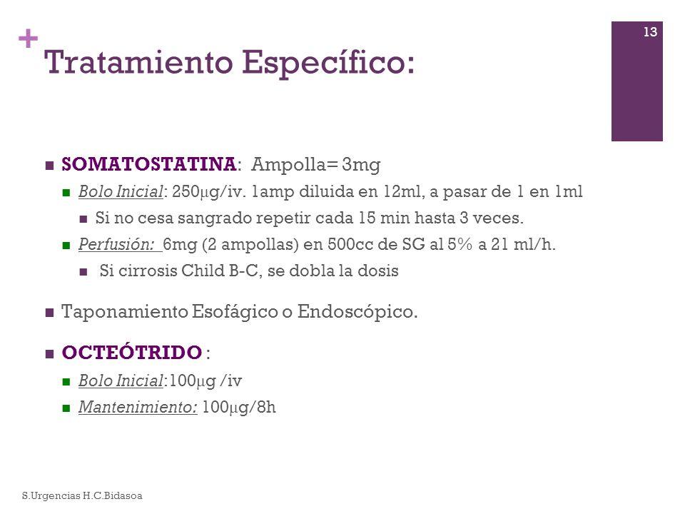 + Tratamiento Específico: SOMATOSTATINA: Ampolla= 3mg Bolo Inicial: 250 μ g/iv. 1amp diluida en 12ml, a pasar de 1 en 1ml Si no cesa sangrado repetir