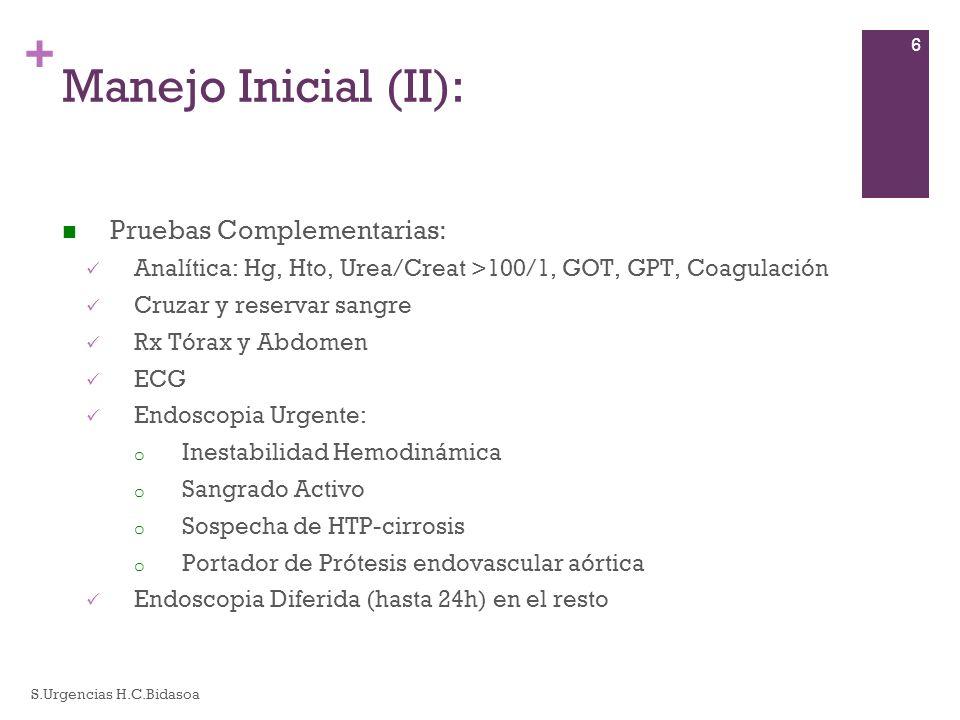 + Manejo Inicial (II): Pruebas Complementarias: Analítica: Hg, Hto, Urea/Creat >100/1, GOT, GPT, Coagulación Cruzar y reservar sangre Rx Tórax y Abdom