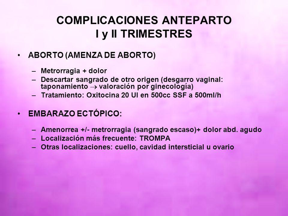 COMPLICACIONES ANTEPARTO I y II TRIMESTRES ABORTO (AMENZA DE ABORTO) –Metrorragia + dolor –Descartar sangrado de otro origen (desgarro vaginal: tapona
