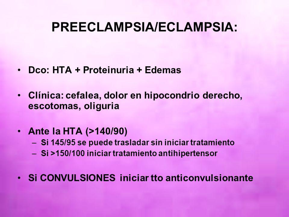 PREECLAMPSIA/ECLAMPSIA: Dco: HTA + Proteinuria + Edemas Clínica: cefalea, dolor en hipocondrio derecho, escotomas, oliguria Ante la HTA (>140/90) –Si