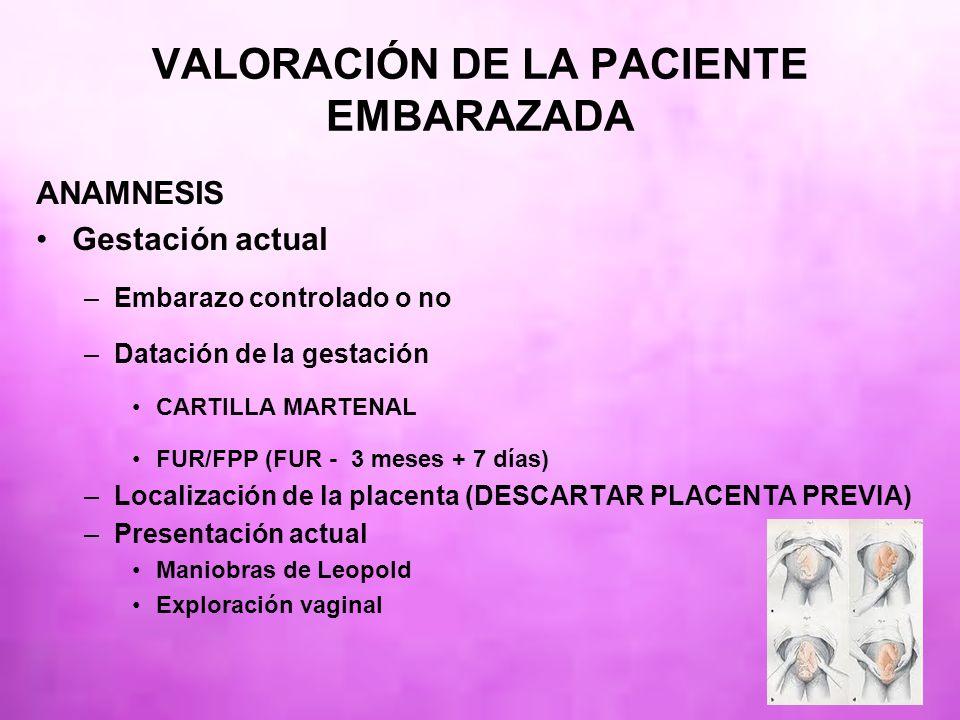 ANAMNESIS Gestación actual –Embarazo controlado o no –Datación de la gestación CARTILLA MARTENAL FUR/FPP (FUR - 3 meses + 7 días) –Localización de la