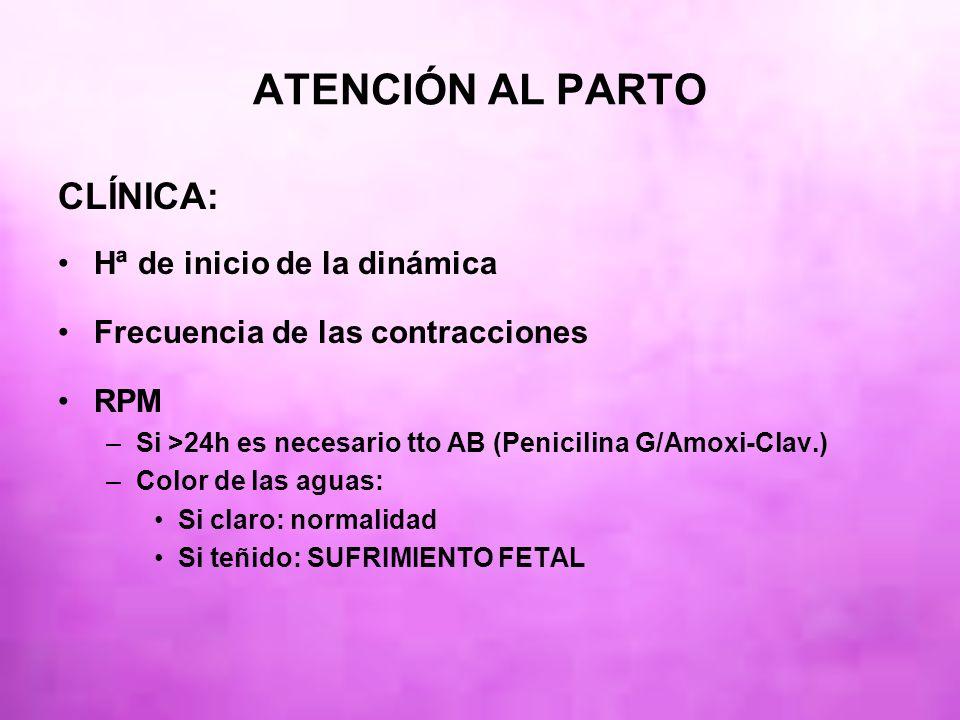 ATENCIÓN AL PARTO CLÍNICA: Hª de inicio de la dinámica Frecuencia de las contracciones RPM –Si >24h es necesario tto AB (Penicilina G/Amoxi-Clav.) –Co