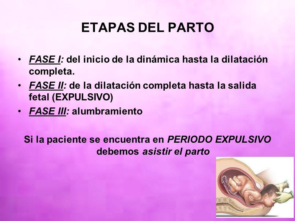 ETAPAS DEL PARTO FASE I: del inicio de la dinámica hasta la dilatación completa. FASE II: de la dilatación completa hasta la salida fetal (EXPULSIVO)