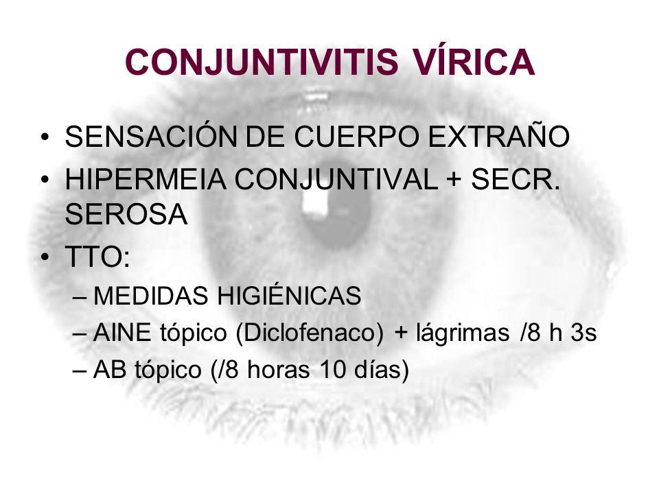CONJUNTIVITIS VÍRICA SENSACIÓN DE CUERPO EXTRAÑO HIPERMEIA CONJUNTIVAL + SECR. SEROSA TTO: –MEDIDAS HIGIÉNICAS –AINE tópico (Diclofenaco) + lágrimas /