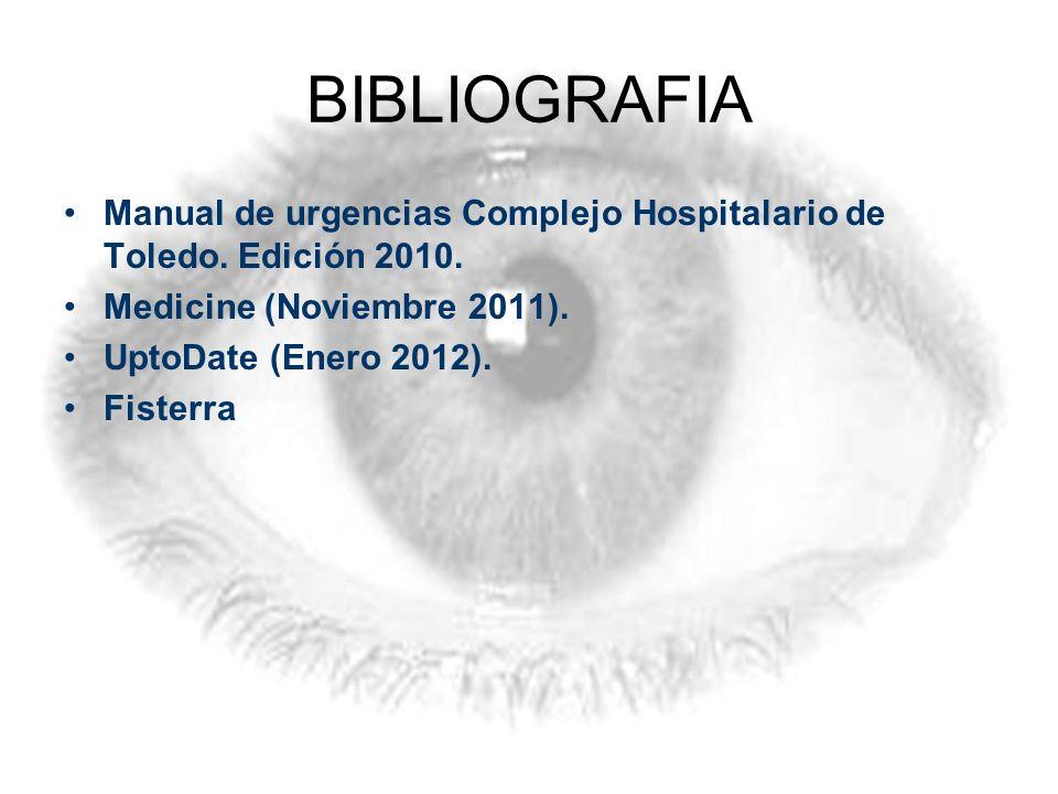BIBLIOGRAFIA Manual de urgencias Complejo Hospitalario de Toledo. Edición 2010. Medicine (Noviembre 2011). UptoDate (Enero 2012). Fisterra