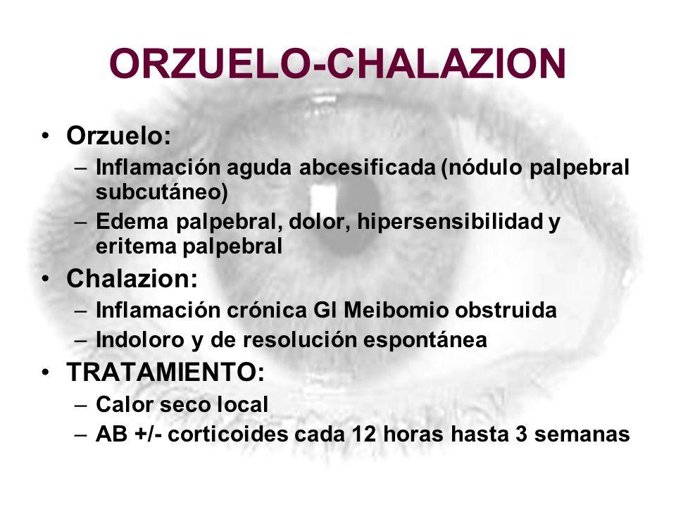 ORZUELO-CHALAZION Orzuelo: –Inflamación aguda abcesificada (nódulo palpebral subcutáneo) –Edema palpebral, dolor, hipersensibilidad y eritema palpebra