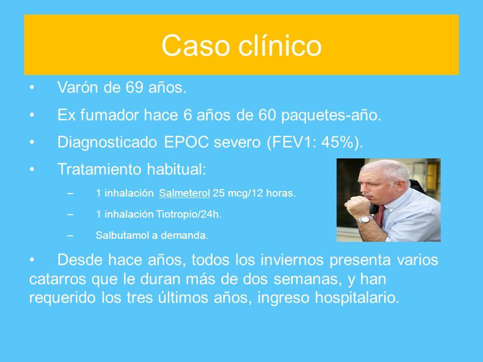 Caso clínico Varón de 69 años. Ex fumador hace 6 años de 60 paquetes-año. Diagnosticado EPOC severo (FEV1: 45%). Tratamiento habitual: –1 inhalación S
