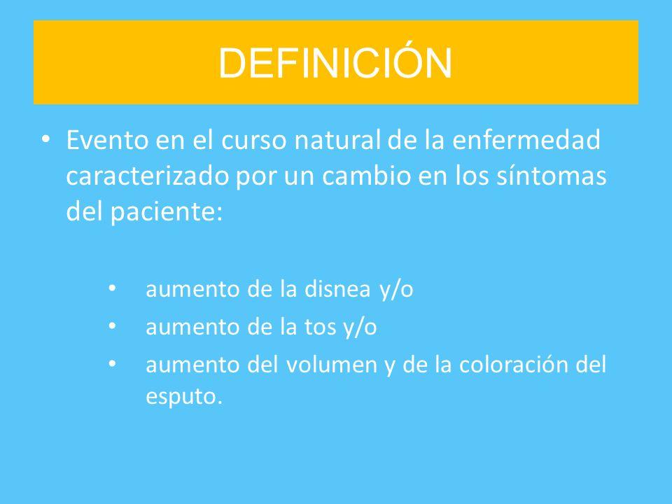 DEFINICIÓN Evento en el curso natural de la enfermedad caracterizado por un cambio en los síntomas del paciente: aumento de la disnea y/o aumento de l