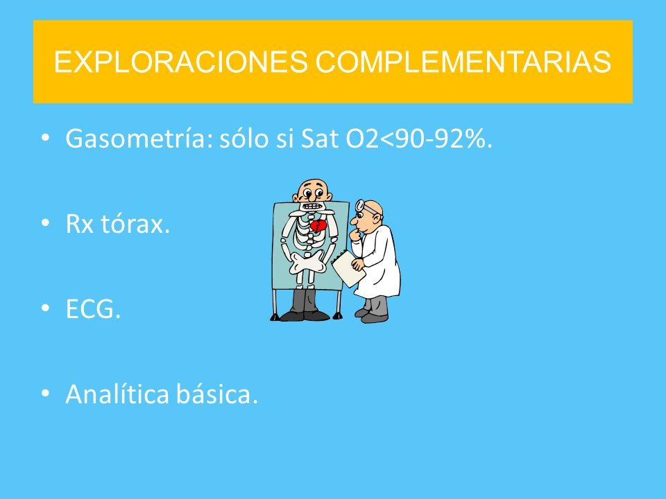 EXPLORACIONES COMPLEMENTARIAS Gasometría: sólo si Sat O2<90-92%. Rx tórax. ECG. Analítica básica.