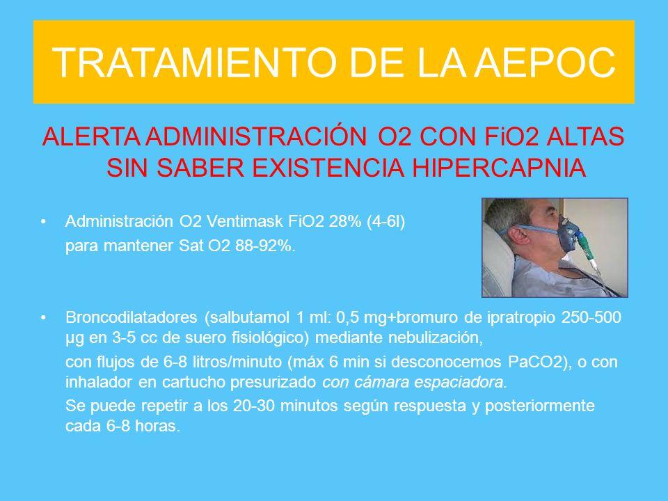 TRATAMIENTO DE LA AEPOC ALERTA ADMINISTRACIÓN O2 CON FiO2 ALTAS SIN SABER EXISTENCIA HIPERCAPNIA Administración O2 Ventimask FiO2 28% (4-6l) para mant