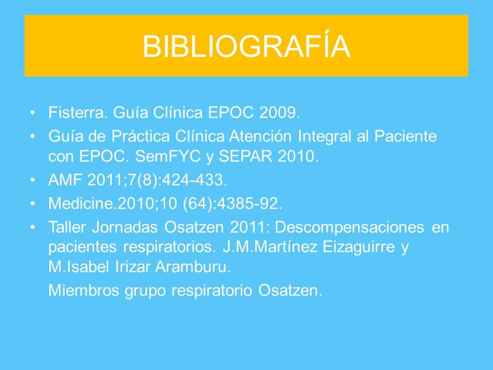 BIBLIOGRAFÍA Fisterra. Guía Clínica EPOC 2009. Guía de Práctica Clínica Atención Integral al Paciente con EPOC. SemFYC y SEPAR 2010. AMF 2011;7(8):424