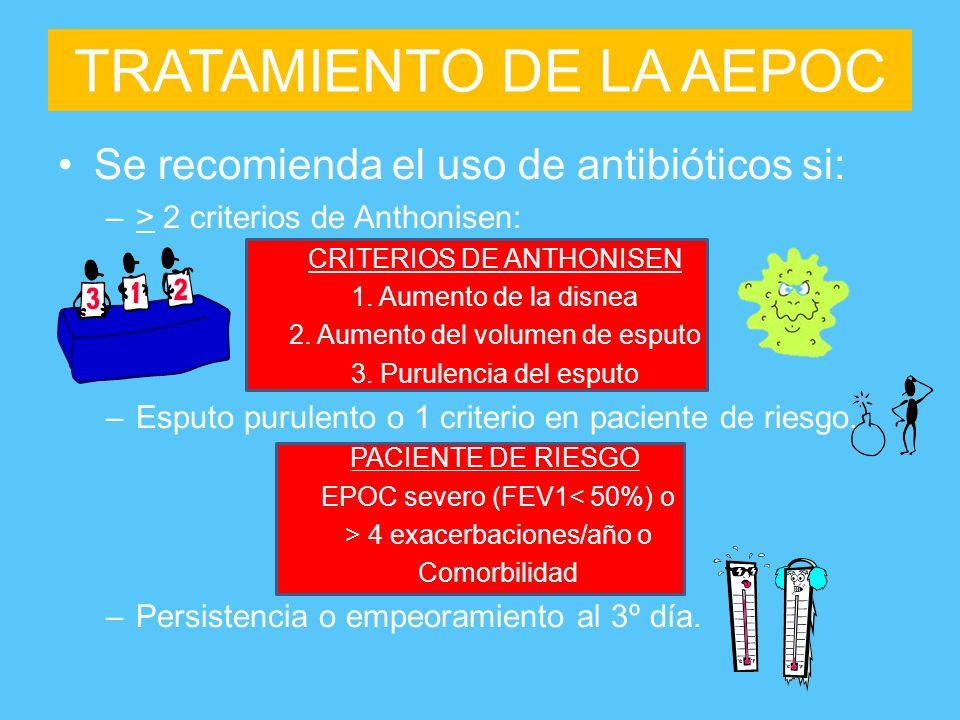 TRATAMIENTO DE LA AEPOC Se recomienda el uso de antibióticos si: –> 2 criterios de Anthonisen: CRITERIOS DE ANTHONISEN 1. Aumento de la disnea 2. Aume