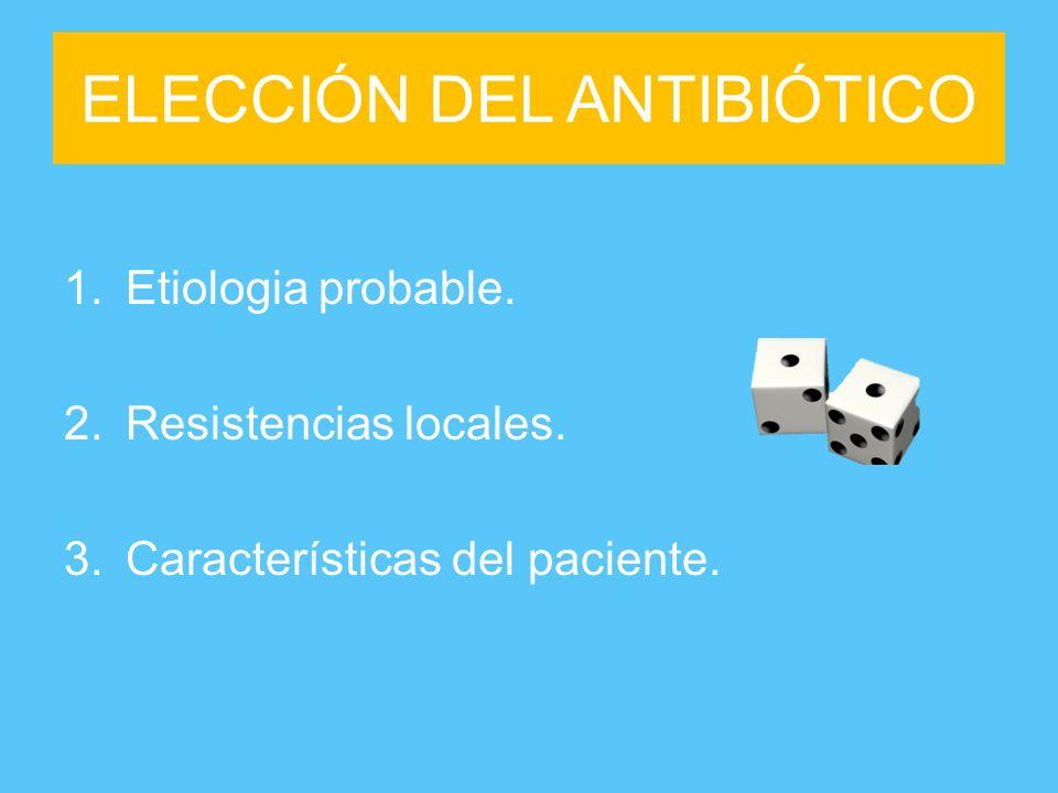 ELECCIÓN DEL ANTIBIÓTICO 1.Etiologia probable. 2.Resistencias locales. 3.Características del paciente.